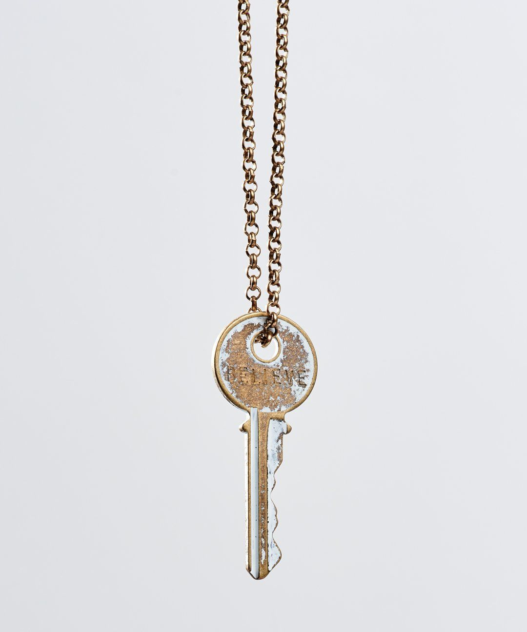 White Patina Classic Key Necklace Necklaces The Giving Keys Believe WHITE