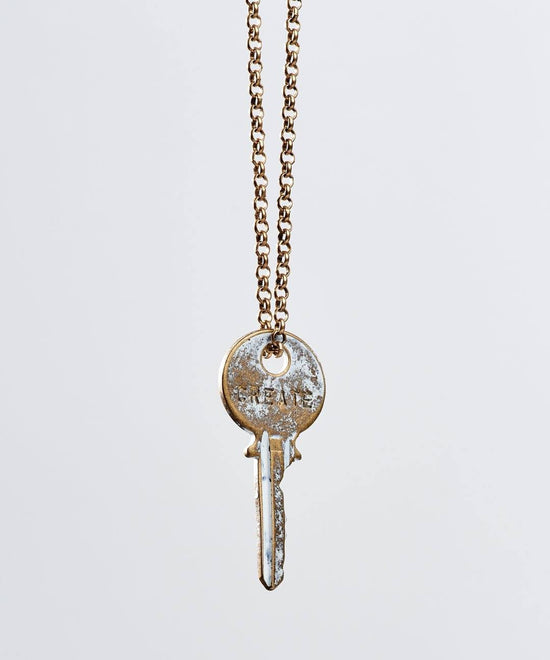 White Patina Classic Key Necklace Necklaces The Giving Keys Create WHITE