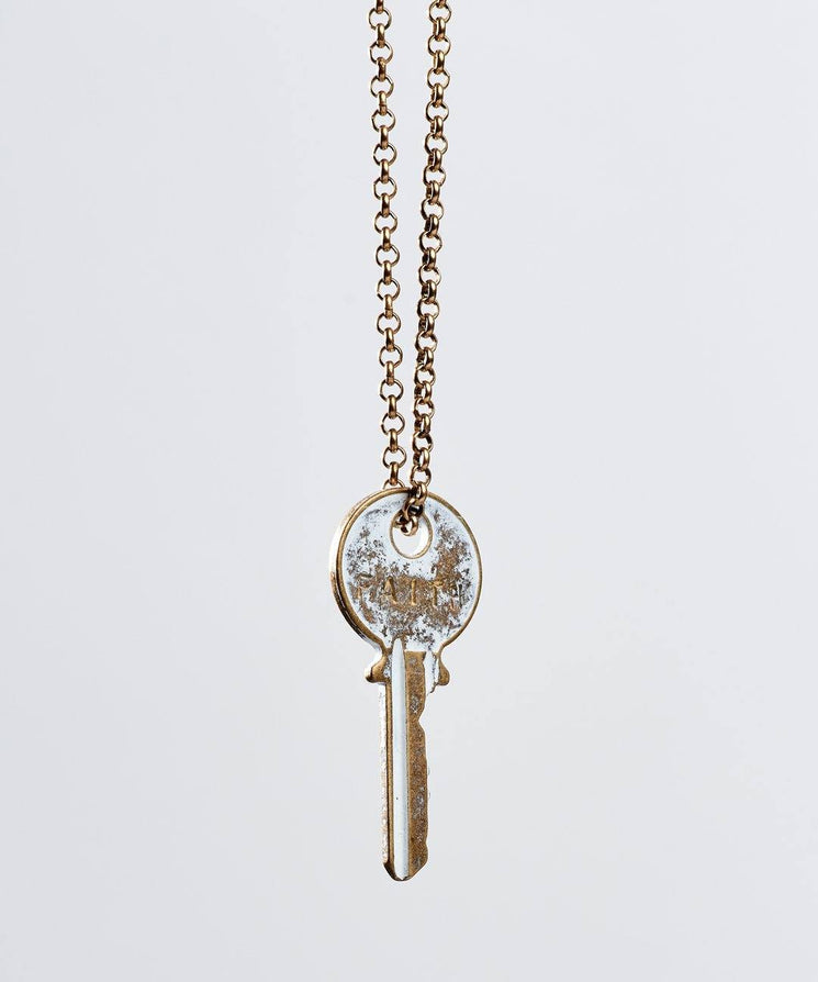 White Patina Classic Key Necklace Necklaces The Giving Keys Faith WHITE