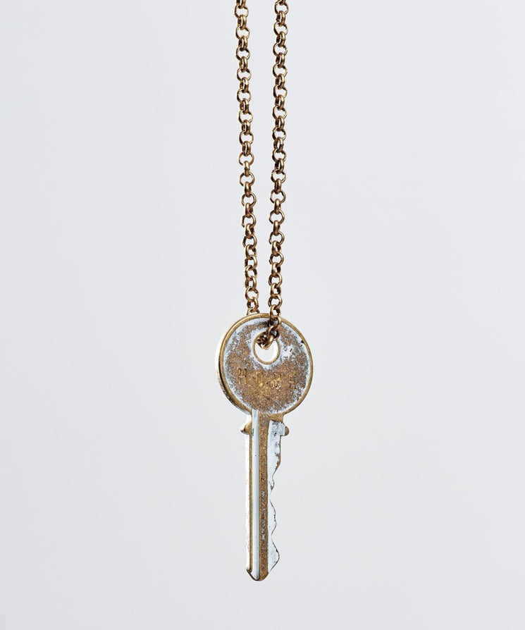 White Patina Classic Key Necklace