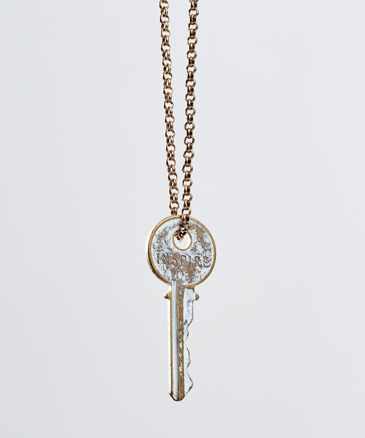 White Patina Classic Key Necklace Necklaces The Giving Keys Inspire WHITE