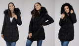 Long Black Jacket With Removable Fur