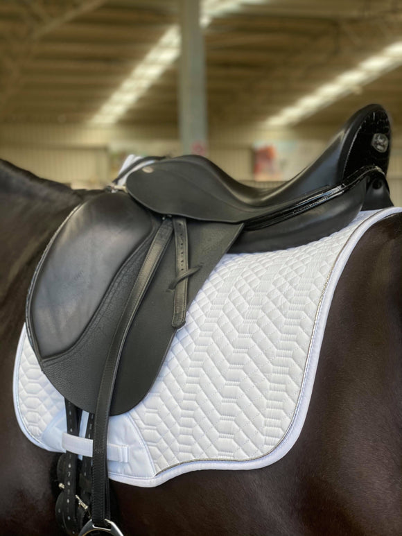 White Dressage Pad with Silver Piping
