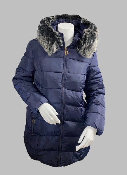 Navy Blue Jacket With Removable Fur