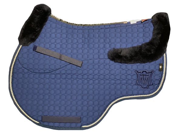 NEW- Mattes Blue Cotton Showjumping Pad Full Sheepskin