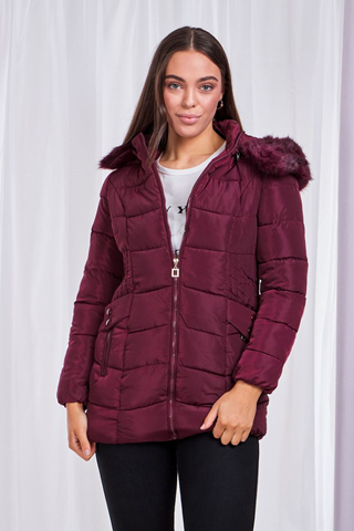 Wine Jacket With Removable Fur