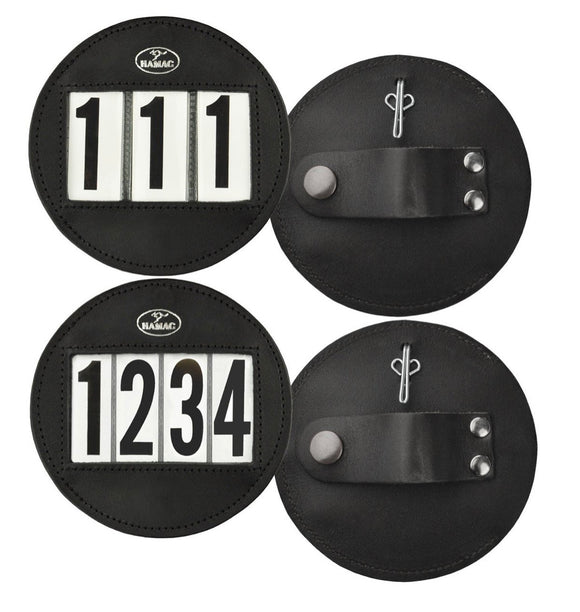 Hamag™ Leather Bridle Number Holders (Pair) - Round