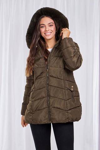 Olive Green Jacket With Removable Fur