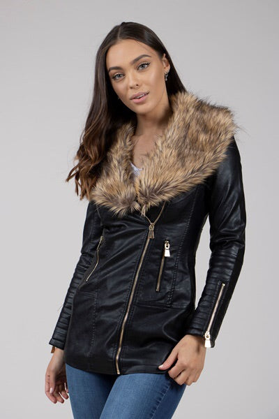 FAUX FUR COLLAR BIKER COAT