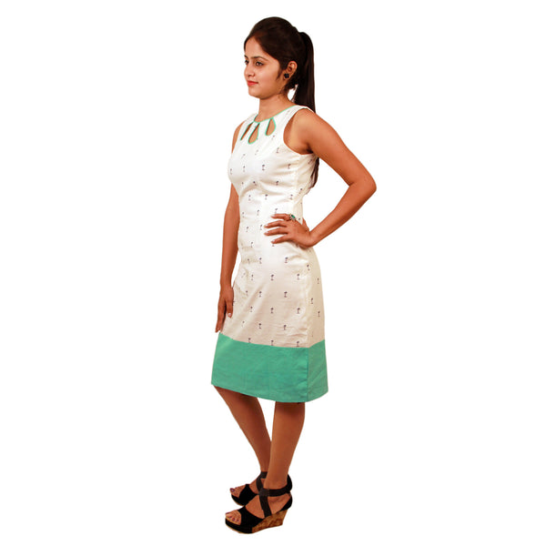 Dress Short SL Boatneck Tree Palm White/Teal