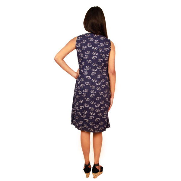 Dress short SL V Neck Yoke Elephant Print Blue