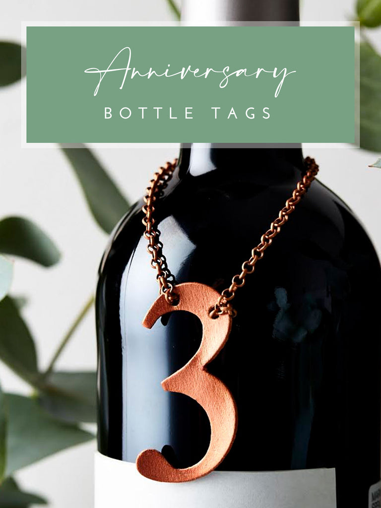 Leather 3rd Anniversary Bottle Tag in Copper