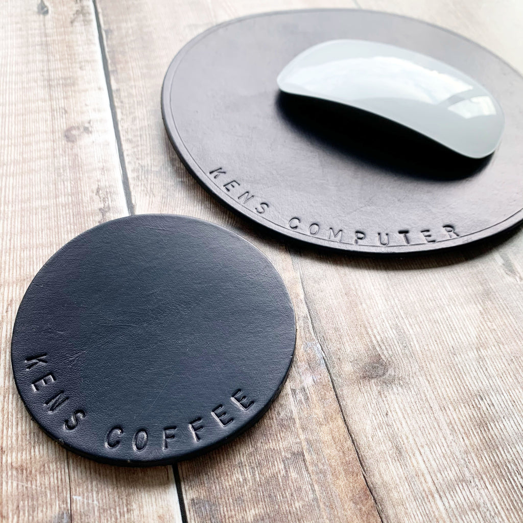 Handstamped Leather Mouse Mat