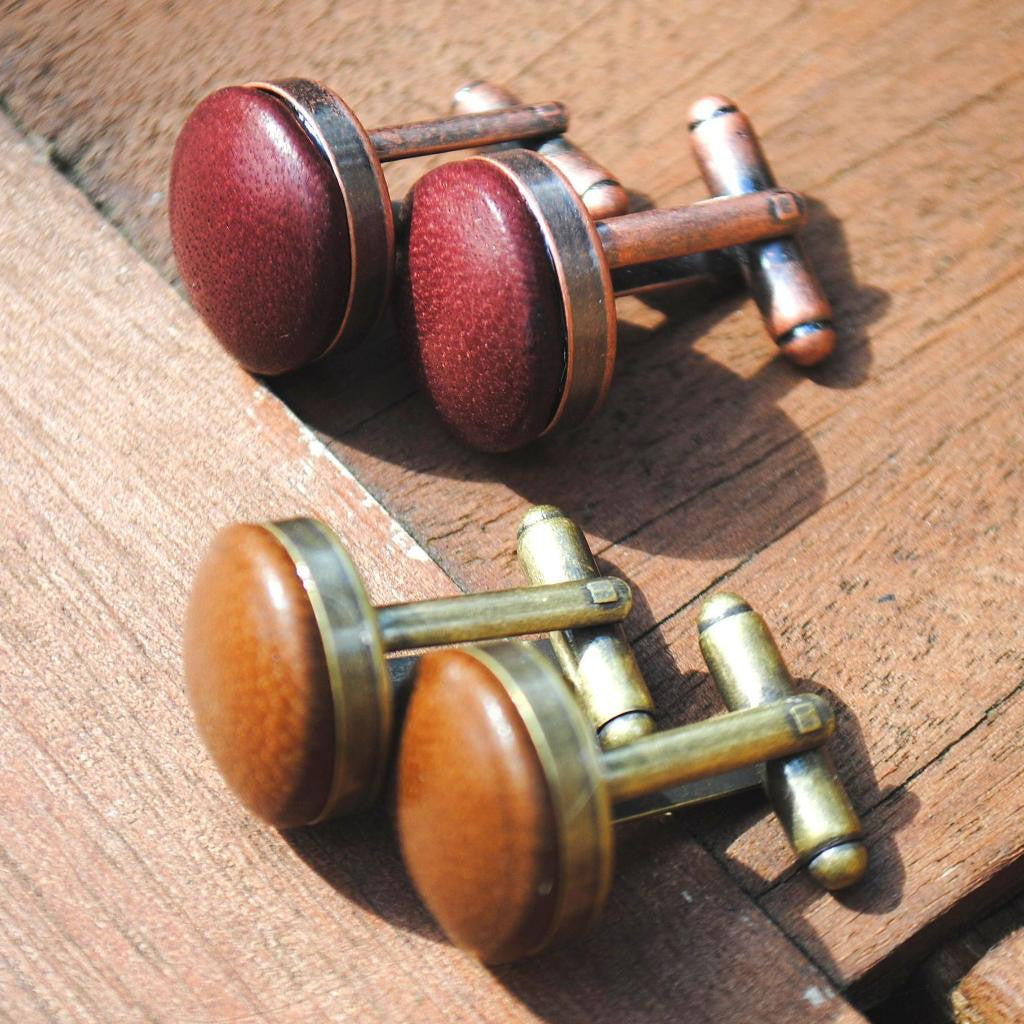 Leather cufflinks with bronze and vintage gold settings - a must-have accessory for any stylish man