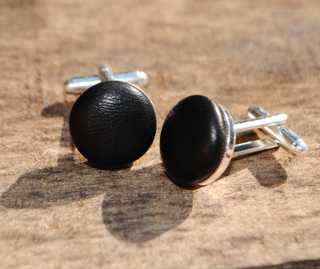 Black Leather Cufflinks