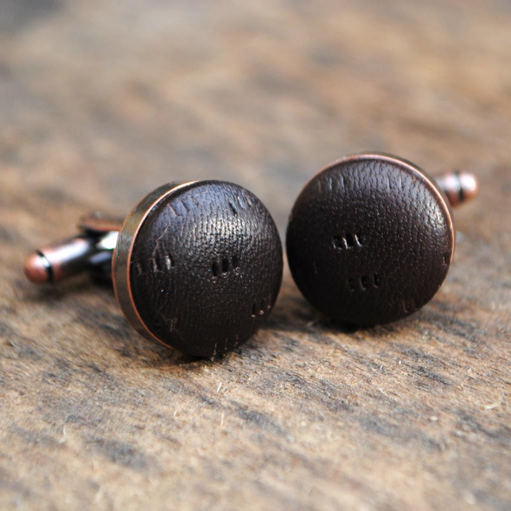Chocolate Brown Textured Leather Cufflinks