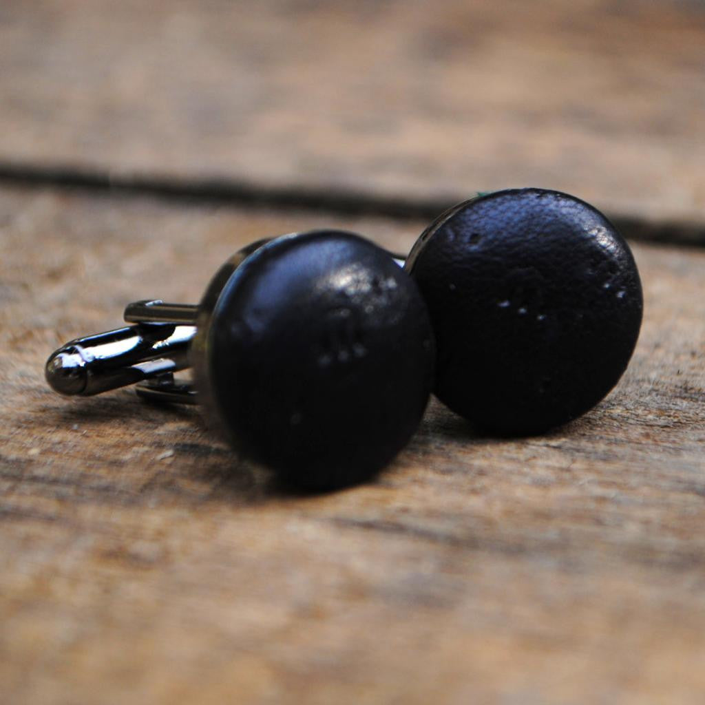 Black Textured Leather Cufflinks