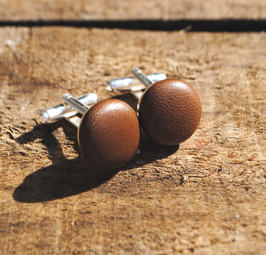 Chocolate Brown Leather Cufflinks