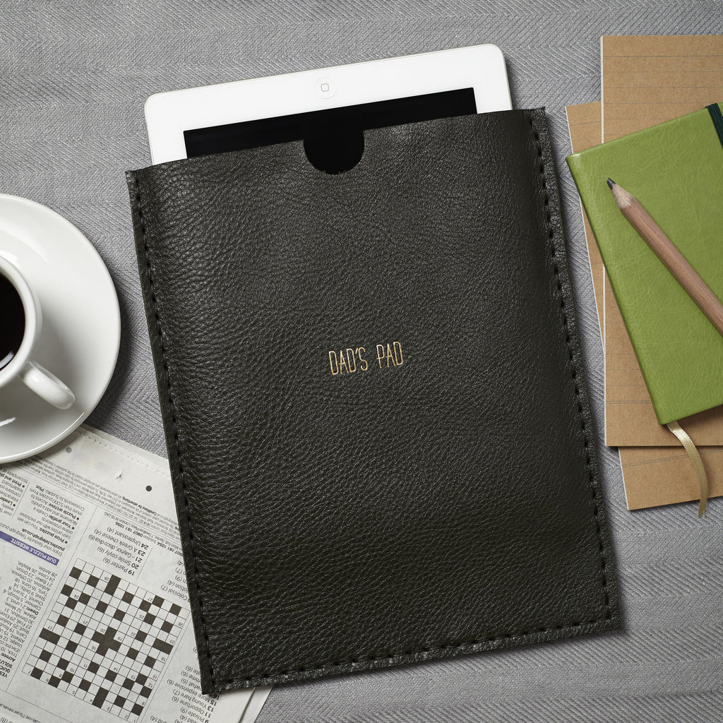 Olive green personalised leather iPad case