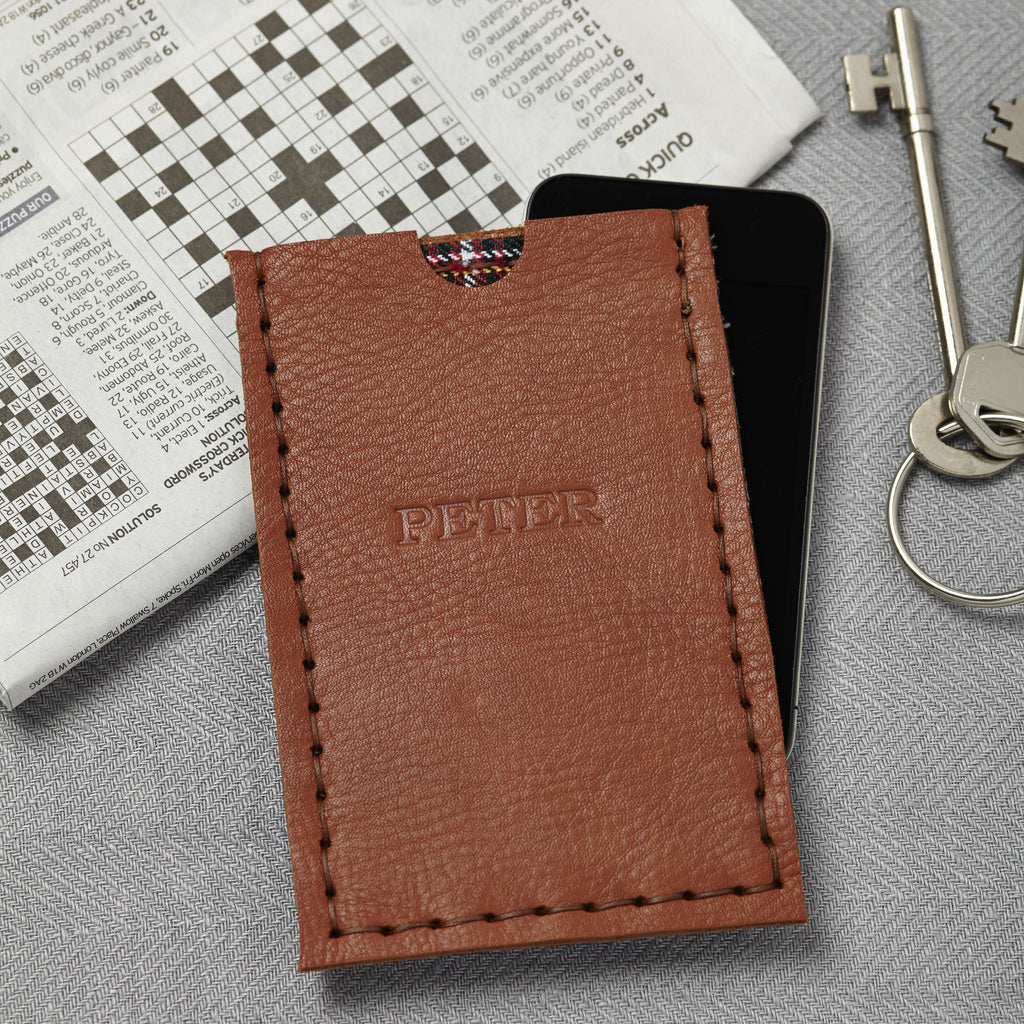 tan leather phone case