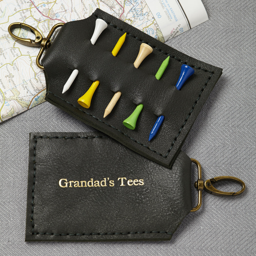 Black Personalised Leather Golf Tee Holder