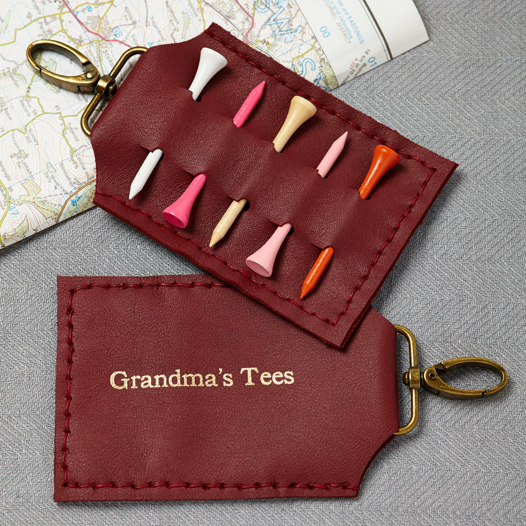 Ox blood leather golf tee holder keyring