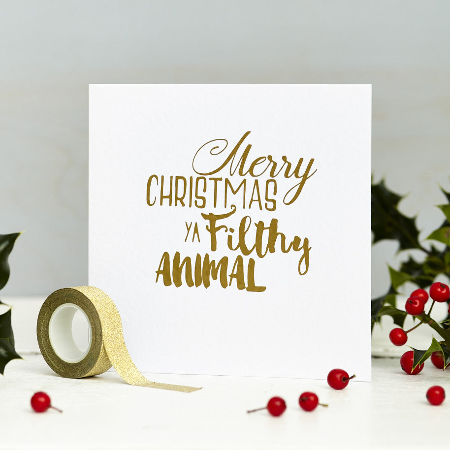 Filthy Animal Metallic Christmas Card