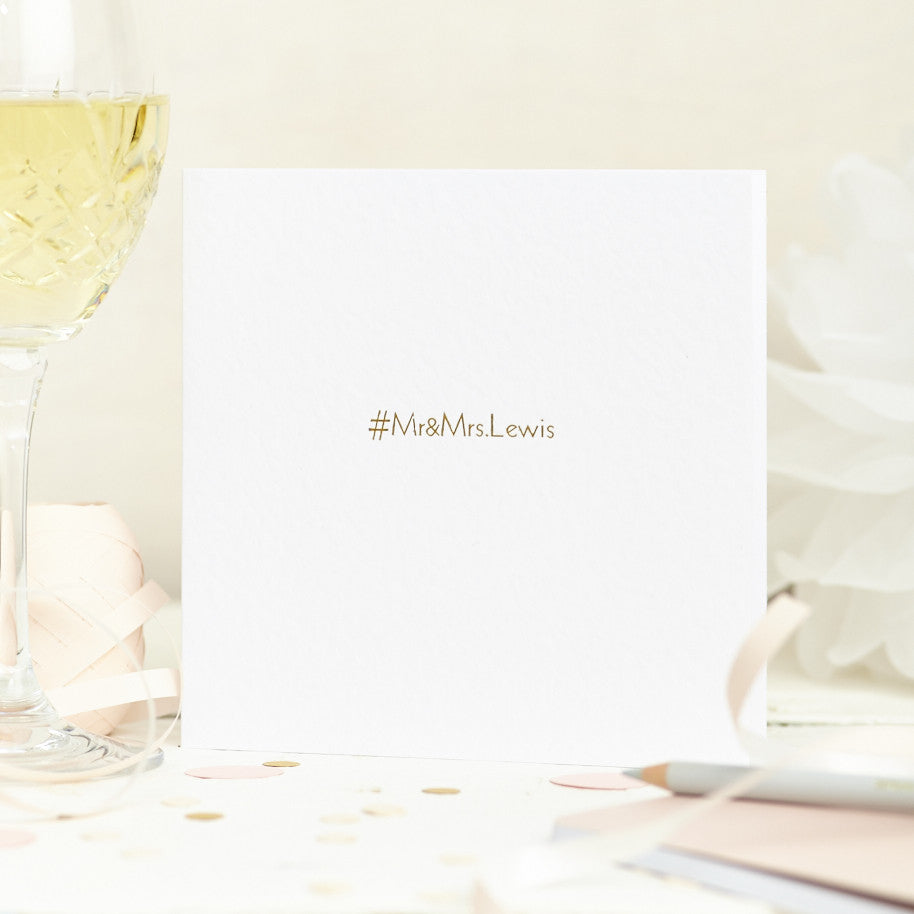 Foil Printed Hashtag Wedding Card