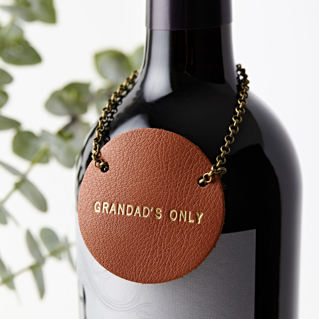 Personalised Retro Leather Bottle Tag