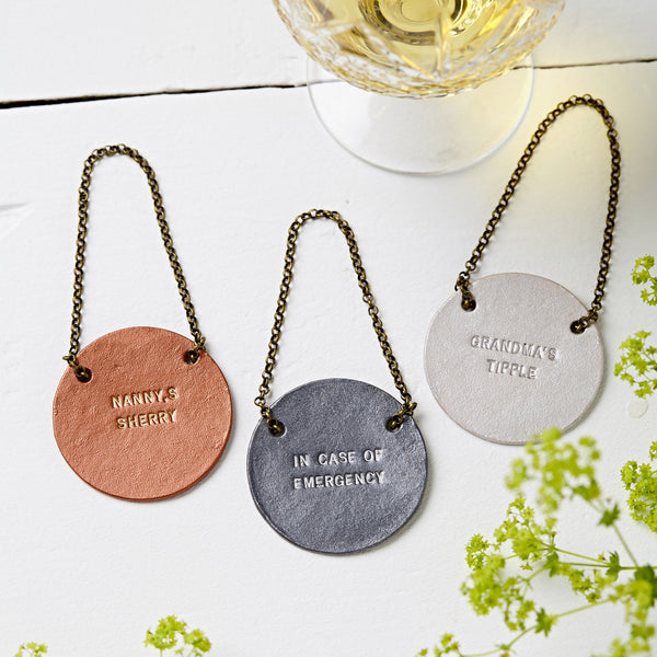 Metallic Personalised Leather Bottle Tag