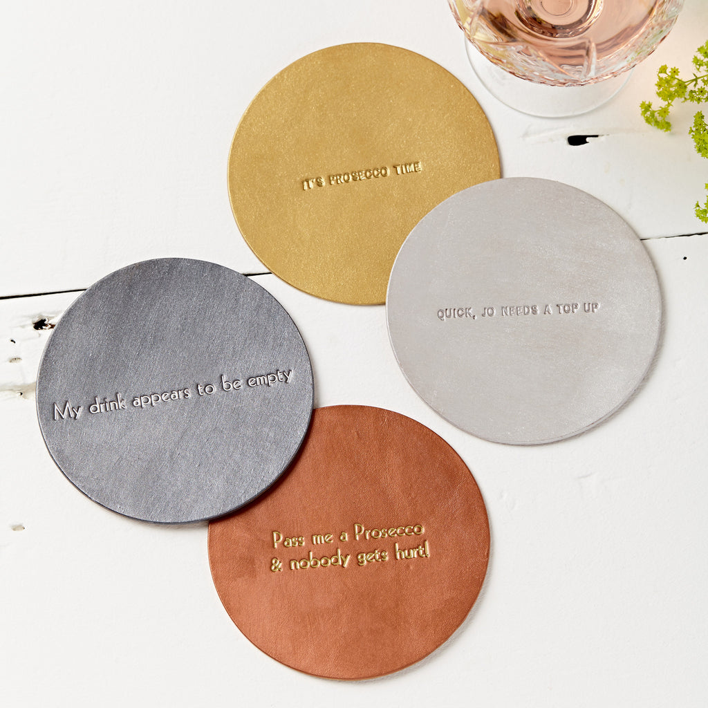 Metallic Personalised Leather Coasters