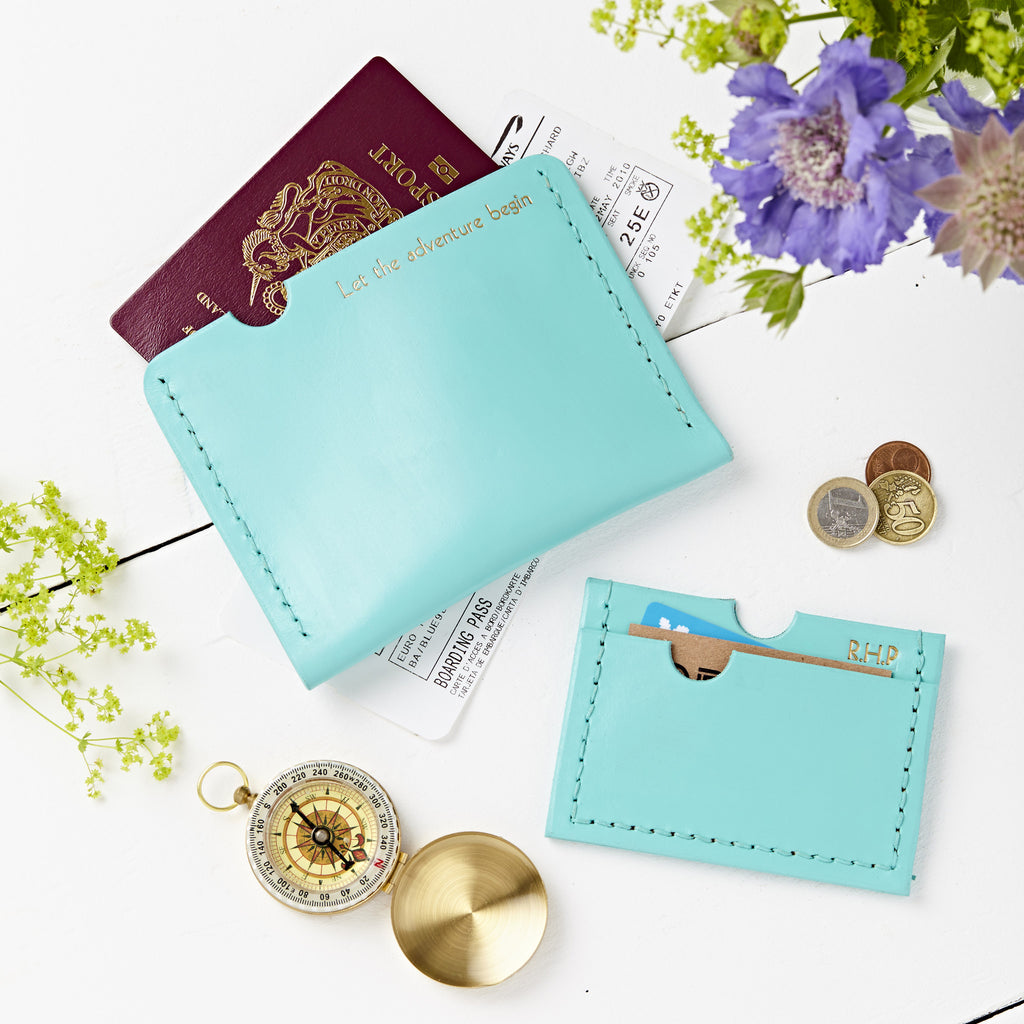 Leather Passport and Card Holder Set
