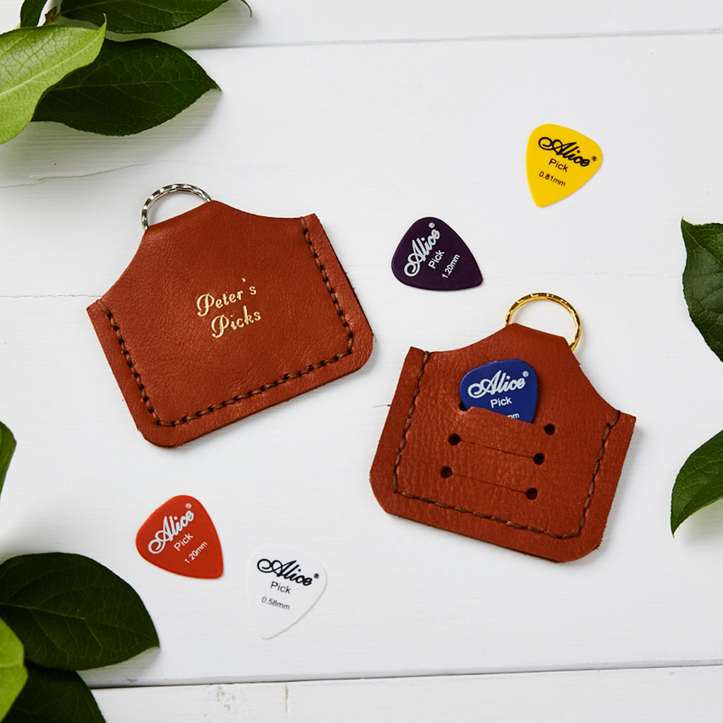 Tan Personalised Plectrum Holder Keyring