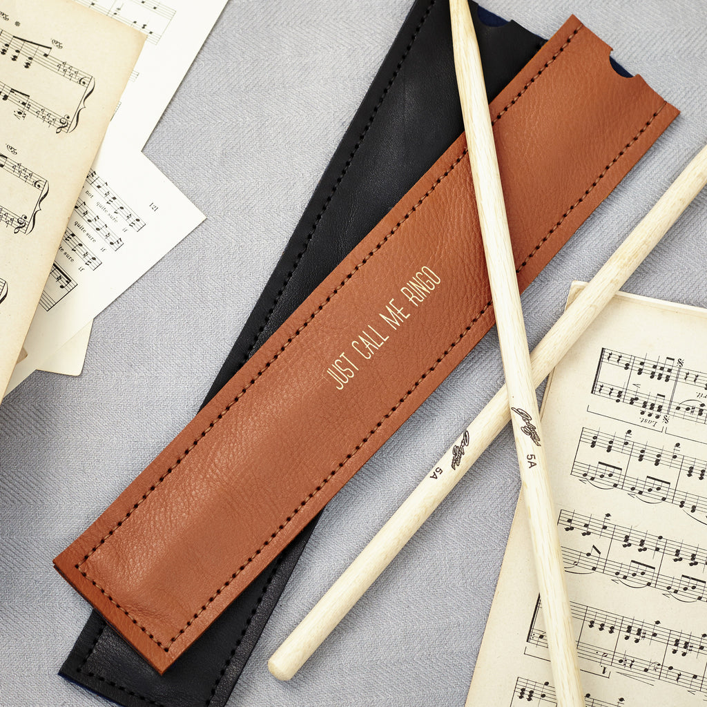 Personalised tan leather drumstick holder