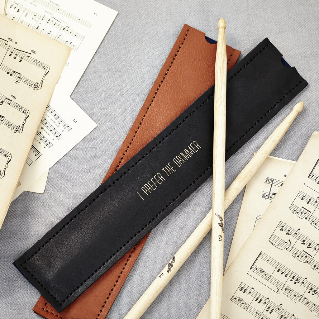 Personalised black leather drumstick holder
