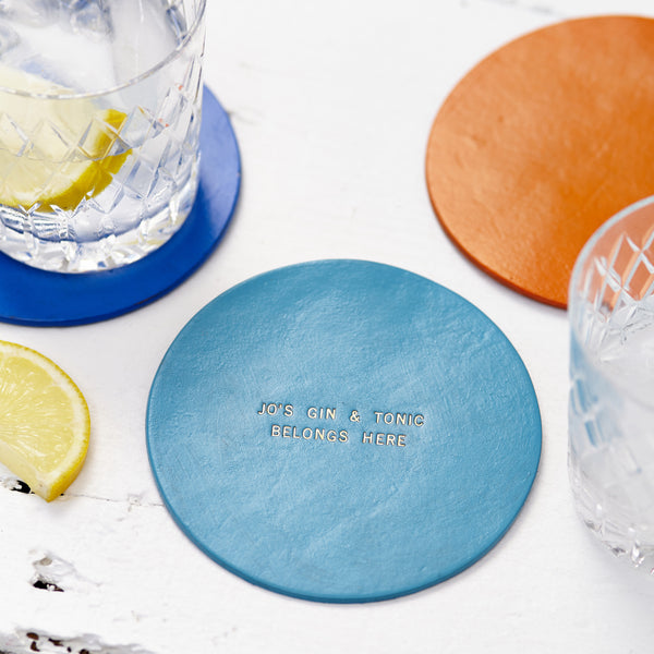 Personalised Leather Coaster