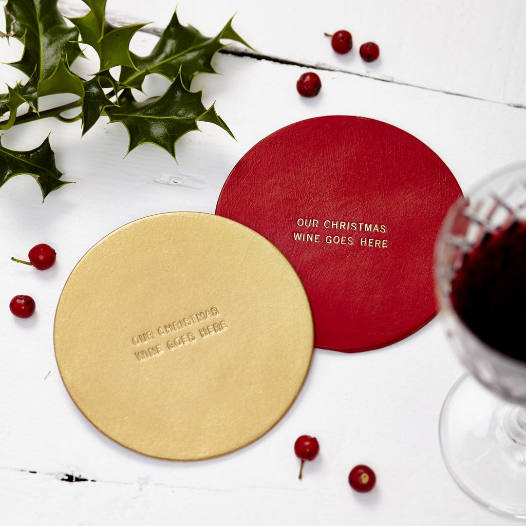 Personalised Christmas Leather Coaster