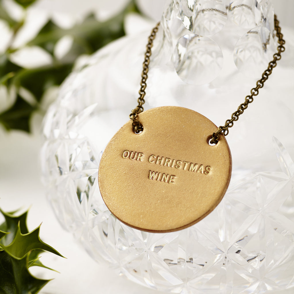 Christmas Personalised Leather Bottle Tag