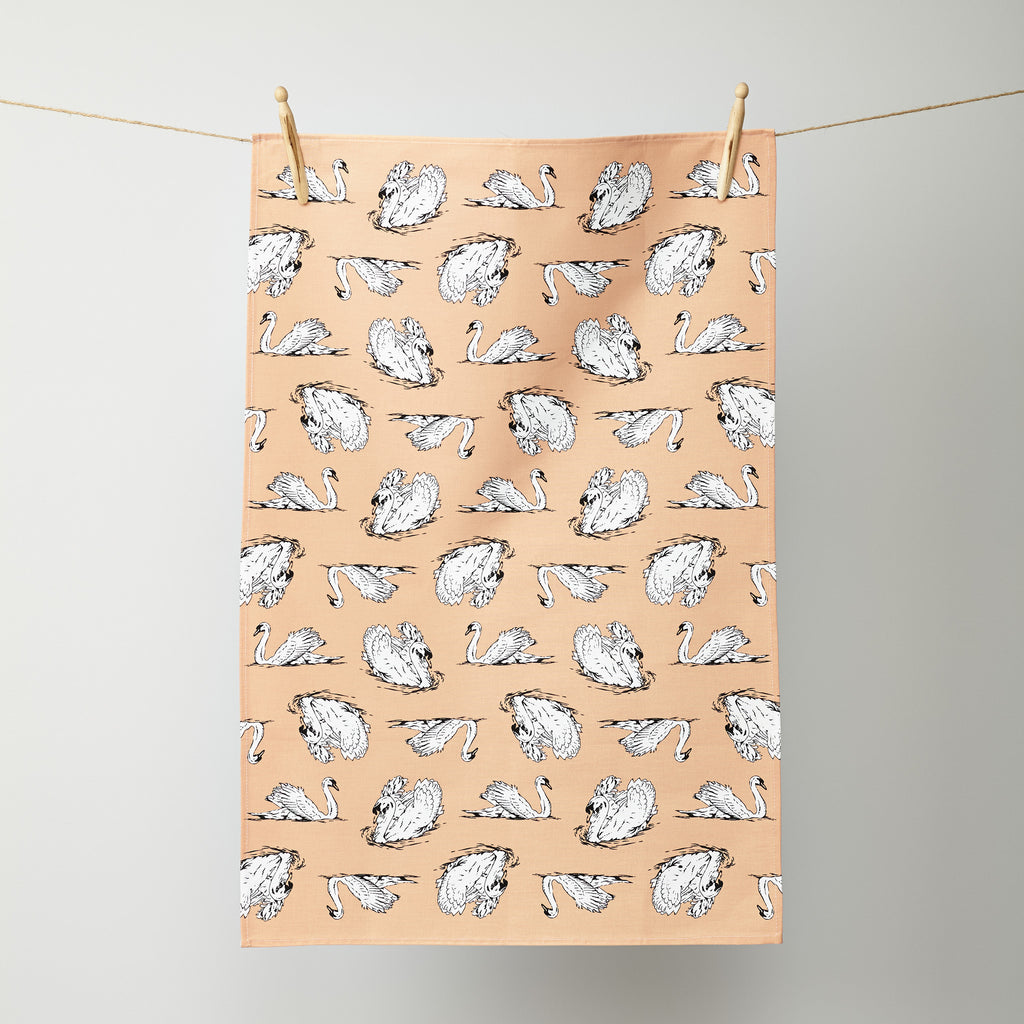 Swimming Swans Tea Towel
