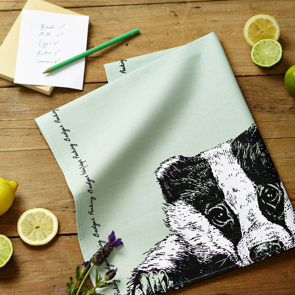 Peeking Badger Tea Towel
