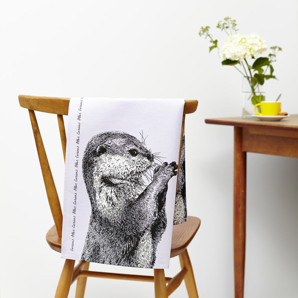 Peeking Badger and Curious Otter Tea Towel Set of 2