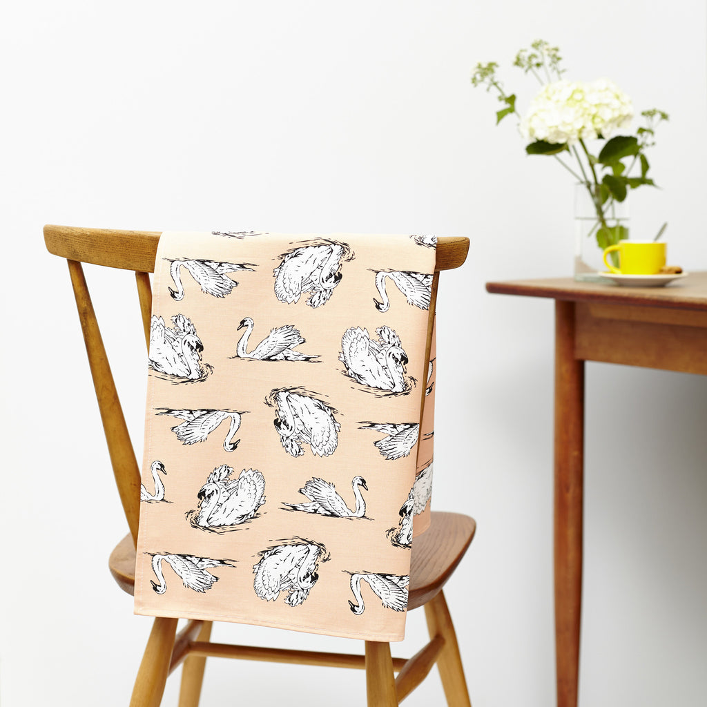 His n Her Tea Towels -Strutting Cockerel and Swimming Swan Tea Towel Set