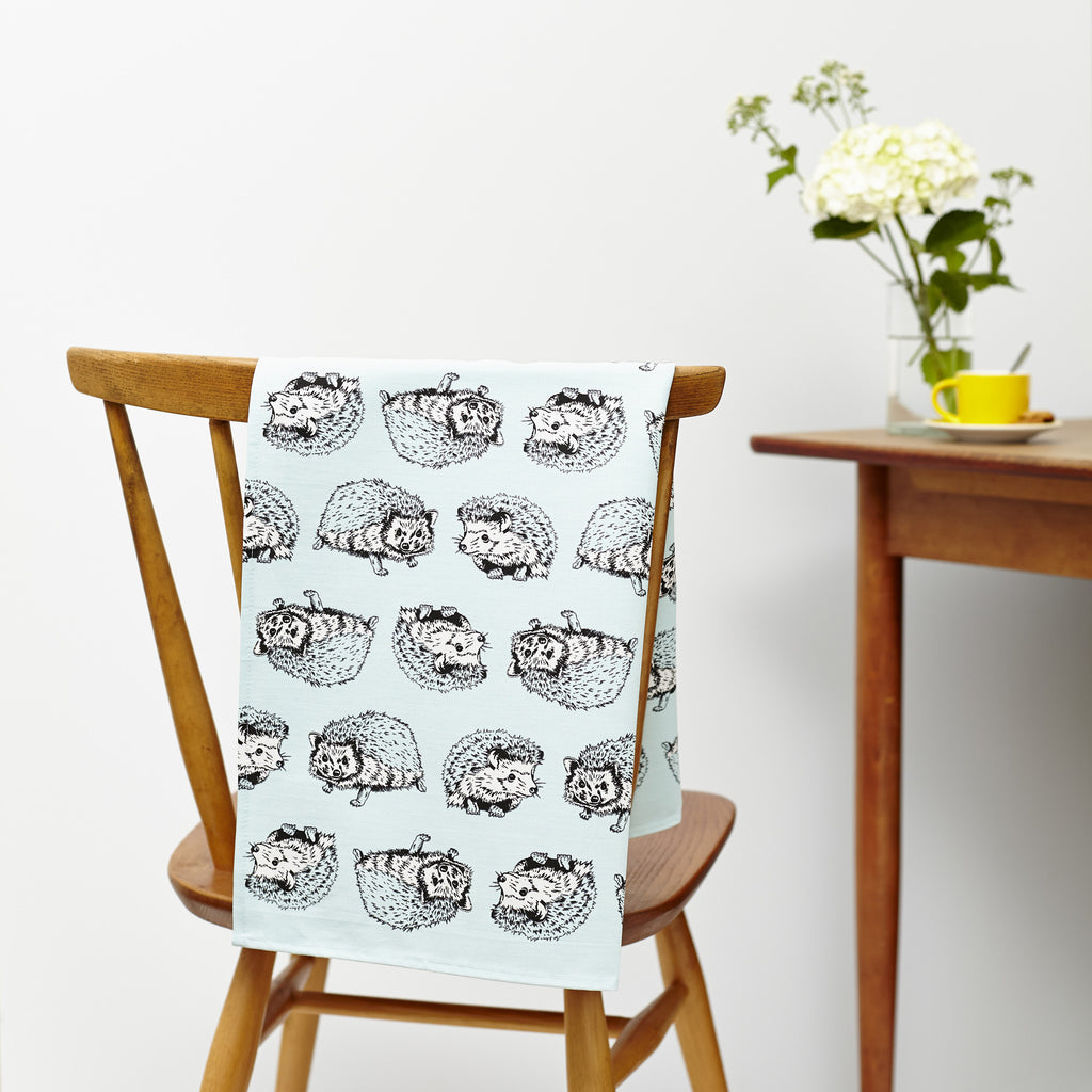 Shy Hedgehog and Curious Otter Tea Towel Set of 2