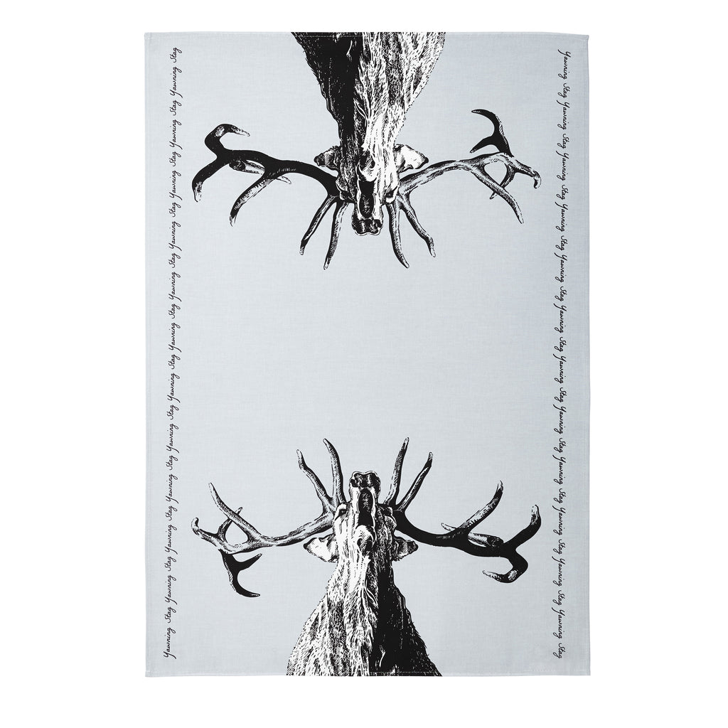 Yawning Stag and Strutting Cockerel Tea Towel Set of 2
