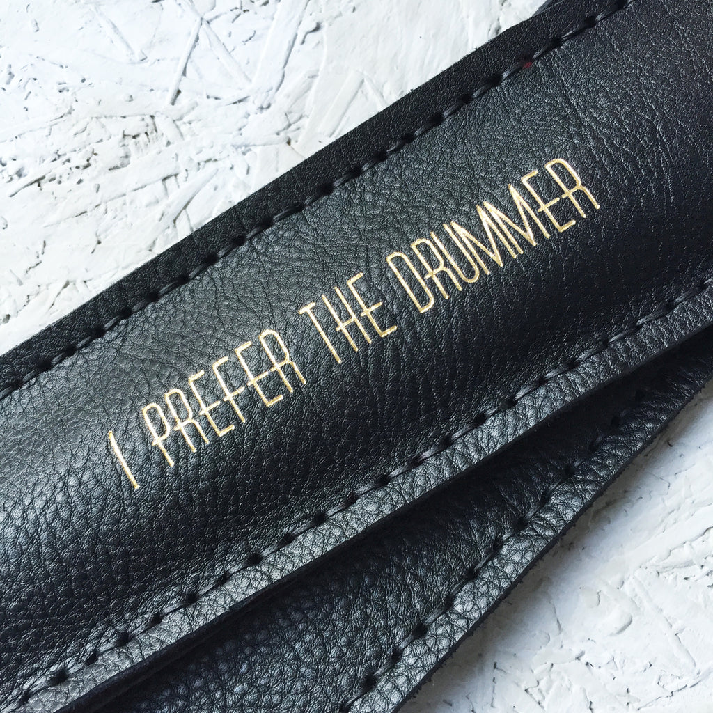 Personalise in the gold Huxley lettering to make the perfect gift for a drummer