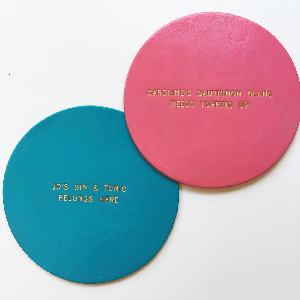 Personalised Pastel Leather Coaster