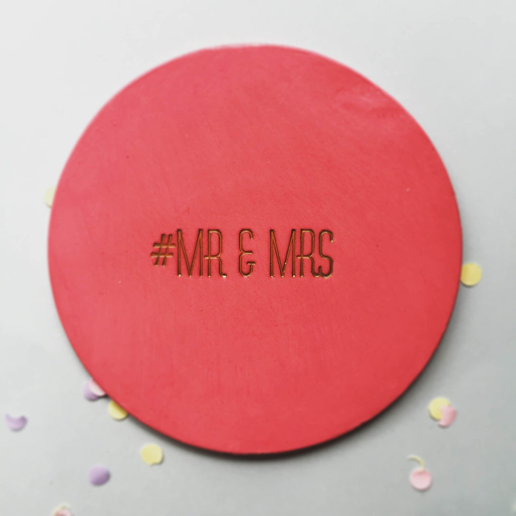 Personalised Hashtag Slogan Leather Coaster