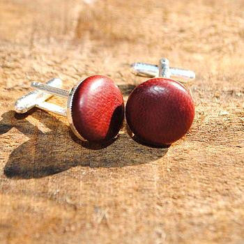 Ox Blood Leather Cufflinks