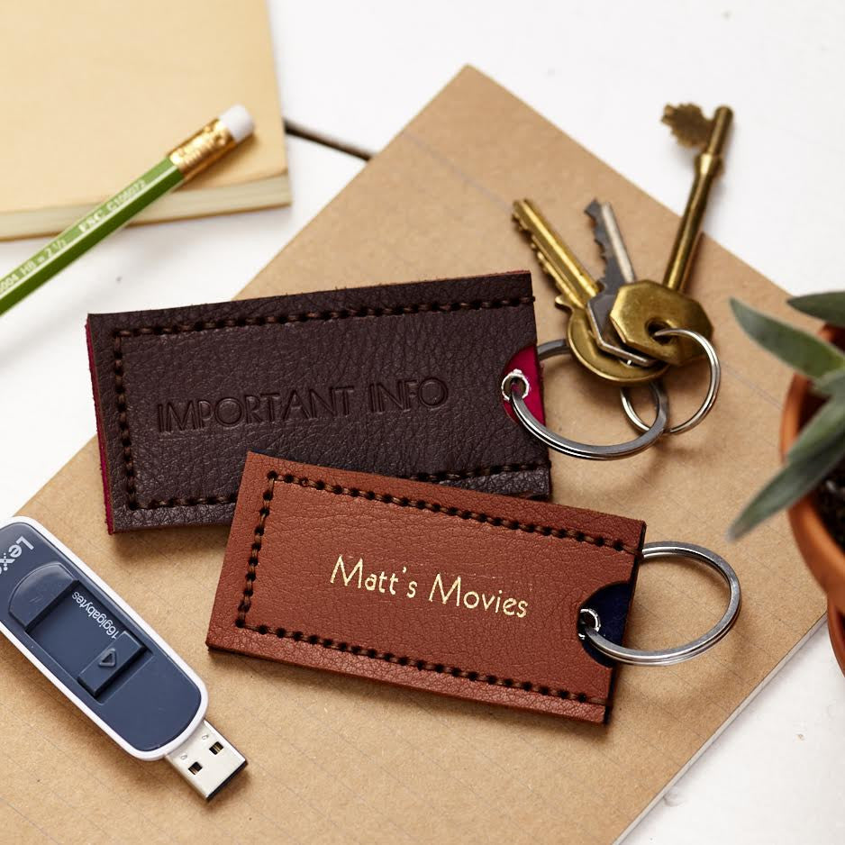 Leather USB stick holder and keyring
