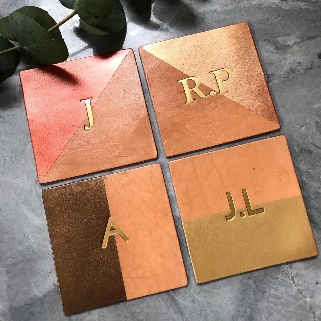 Monogram Square Metallic Leather Coaster